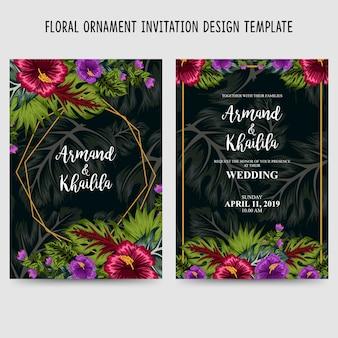 Modelo de design de convite de ornamento floral
