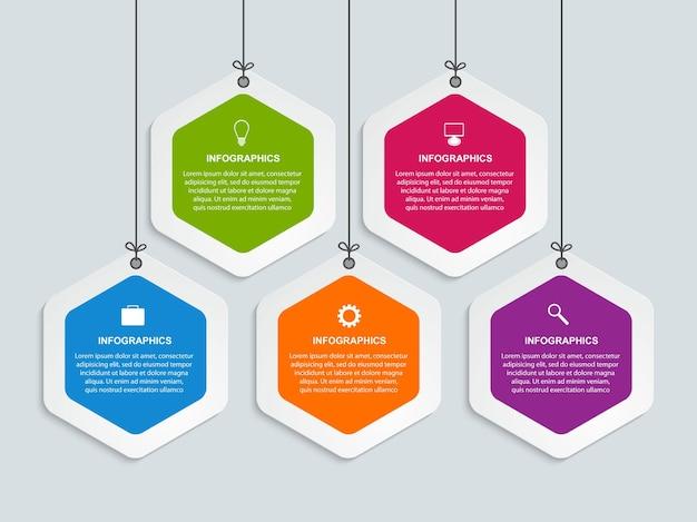 Modelo de design de cronograma do infográfico de opções
