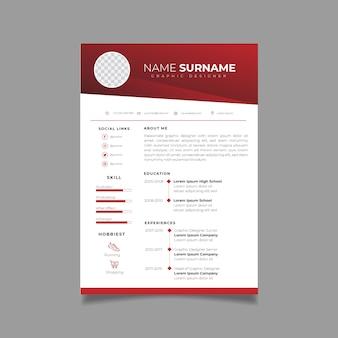 Modelo de design de currículo profissional com estilo minimalista