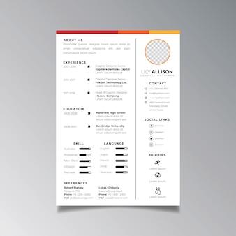 Modelo de design de currículo profissional minimalista. vetor de layout de negócios para o modelo de pedidos de emprego.