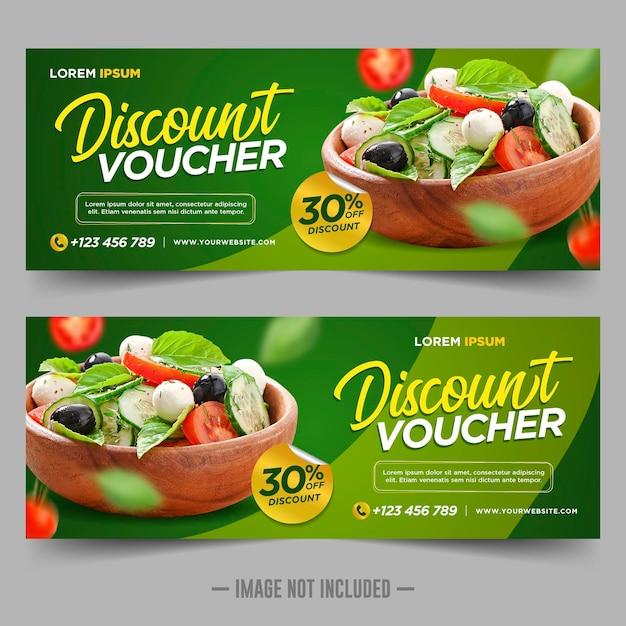 Modelo de design de desconto para vale-presente de comida