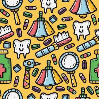 Modelo de design de desenho de dentista doodle padrão kawaii