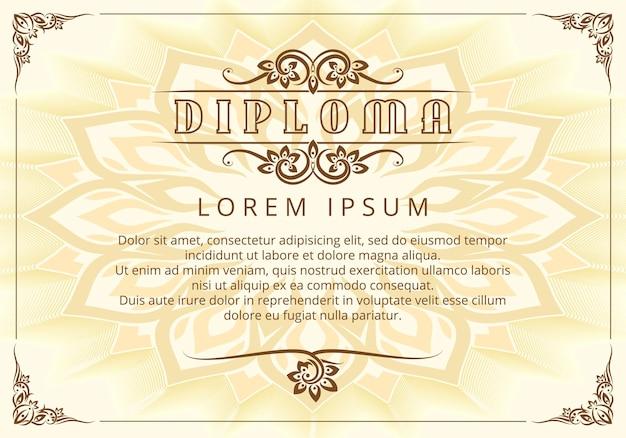 Modelo de design de diploma com elementos de design tailandês.