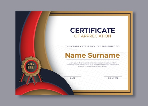 Modelo de design de diploma de certificado premium