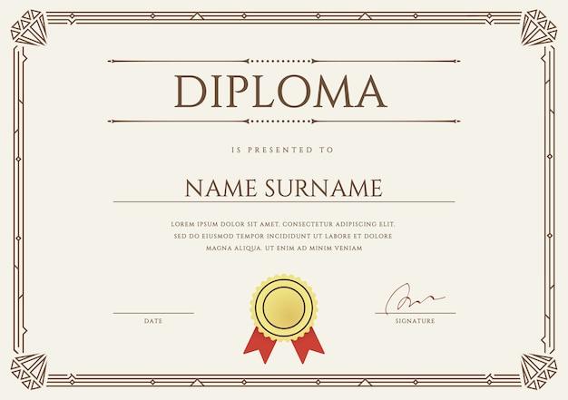 Modelo de design de diploma ou certificado