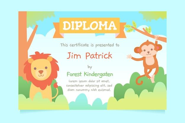 Modelo de design de diploma para crianças