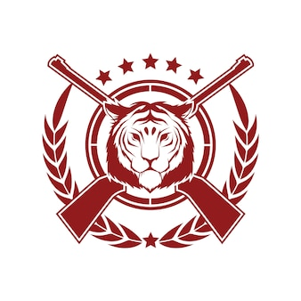 Modelo de design de distintivo de estilo vintage de vetor com tigre