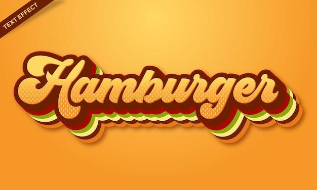 Modelo de design de efeito de texto de hambúrguer