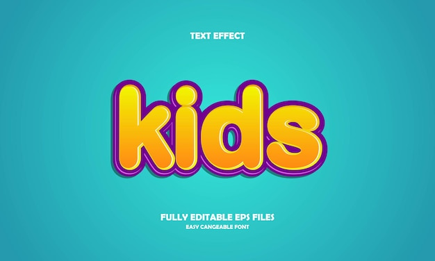 Modelo de design de efeito de texto editável estilo de título infantil