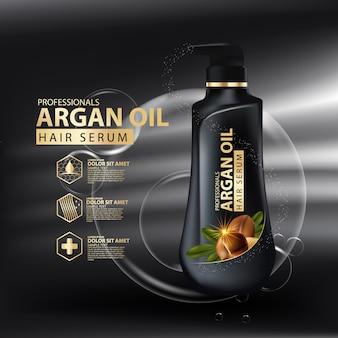 Modelo de design de embalagem de shampoo para cuidados com os cabelos com óleo de argão