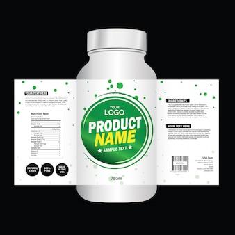 Modelo de design de embalagem e etiqueta