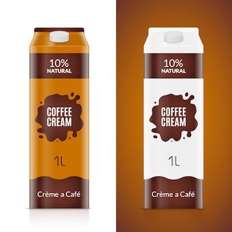 Modelo de design de embalagens de creme de café. pacote de produto creme isolado. saco de comida de café líquido para café.
