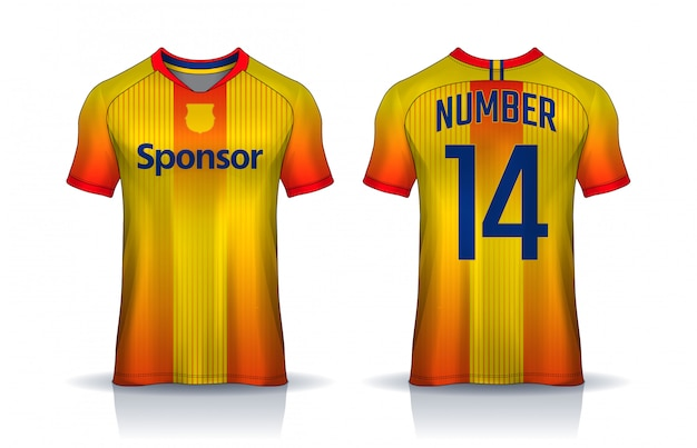 Modelo de design de esporte de t-shirt, camisa de futebol para o clube de futebol. frente uniforme e vista traseira.