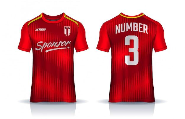 Modelo de design de esporte de t-shirt, maquete de camisa de futebol para clube de futebol. vista frontal e traseira uniforme.