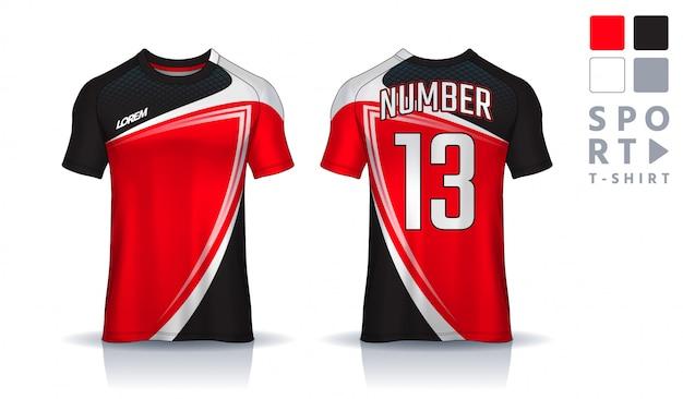 Modelo de design de esporte de t-shirt, maquete de camisa de futebol para o clube de futebol. vista frontal e traseira uniforme.