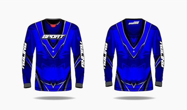 Modelo de design de esporte de t-shirt, modelo de manga comprida uniforme frente e vista traseira.