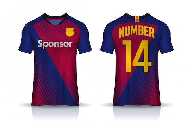 Modelo de design de esporte de t-shirt, vista frontal e traseira uniforme.
