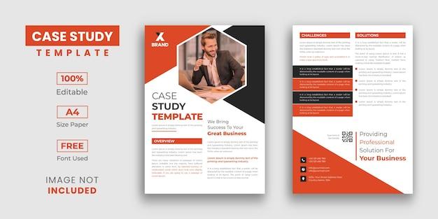 Modelo de design de estudo de caso com 2 páginas