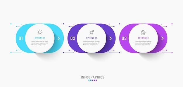 Modelo de design de etiqueta infográfico com 3 opções ou etapas.