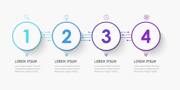 Modelo de design de etiqueta infográfico com ícones e 4 opções ou etapas