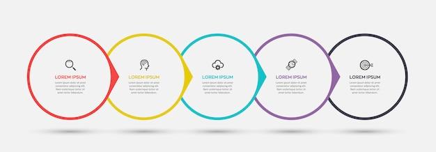 Modelo de design de etiqueta infográfico com ícones e 5 opções ou etapas. pode ser usado para diagrama de processo, apresentações, layout de fluxo de trabalho, banner, fluxograma, gráfico de informações