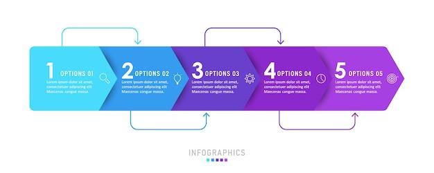 Modelo de design de etiqueta infográfico com ícones e 5 opções ou etapas.