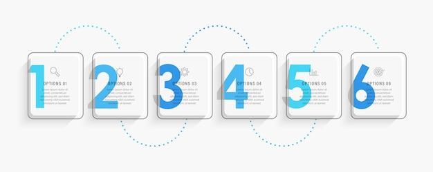 Modelo de design de etiqueta infográfico com ícones e 6 opções ou etapas.