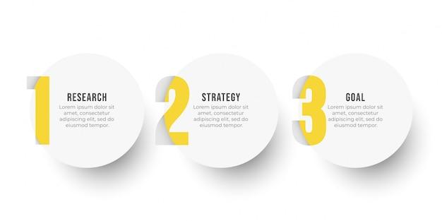 Modelo de design de etiqueta infográfico com opções de círculo e número. conceito de negócio com 3 etapas ou processos.