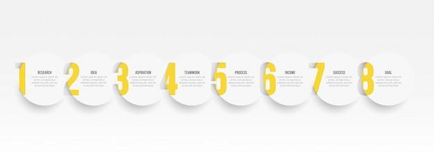 Modelo de design de etiqueta infográfico com opções de círculo e número. conceito de negócio com 8 etapas ou processos.