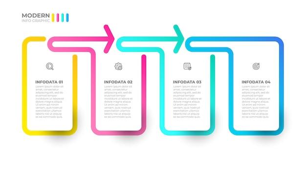 Modelo de design de etiqueta infográfico de vetor conceito de negócio com 4 opções de etapas ou processos