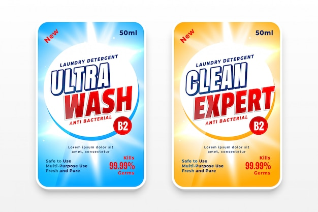 Modelo de design de etiquetas de detergente ou desinfetante para a roupa