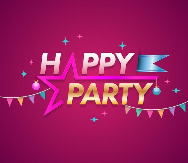 Modelo de design de festa feliz com estrela. ilustração vetorial.