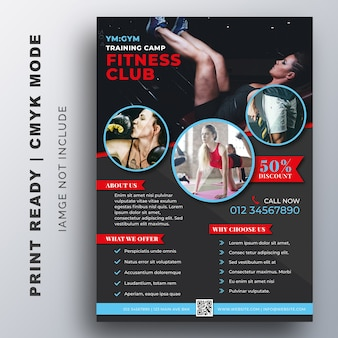 Modelo de design de fitness fitness gym flyer