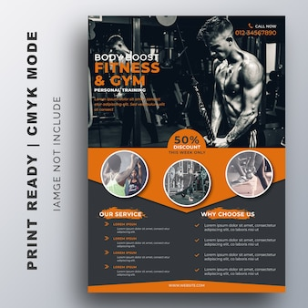 Modelo de design de fitness gym flyer
