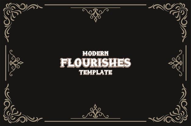 Modelo de design de floreios elegantes