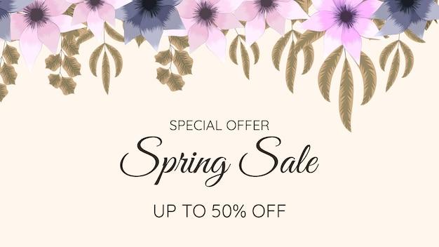 Modelo de design de flores desabrochando fundo floral colorido de primavera