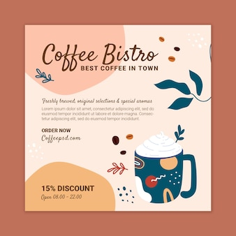 Modelo de design de flyer quadrado de café