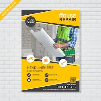 Modelo de design de folheto a4 construção para impressão