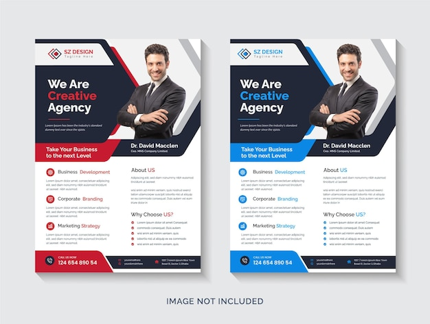 Modelo de design de folheto a4 para agência de marketing digital criativo