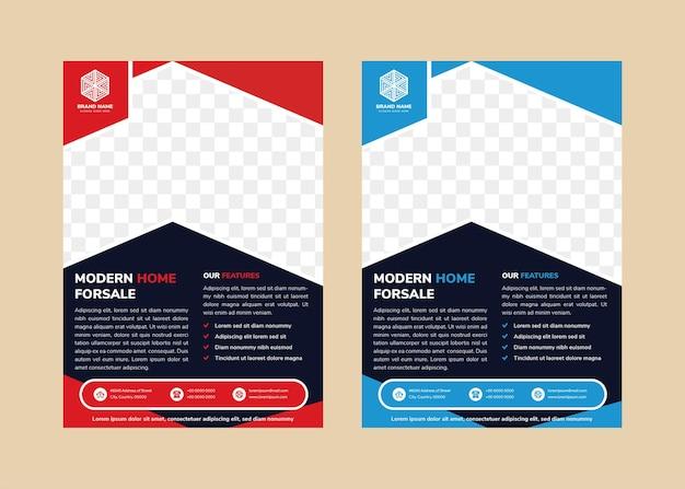 Modelo de design de folheto abstrato para casa moderna à venda com espaço para foto moderna forma de seta para foto vermelha e azul no layout vertical do elemento com fundo azul