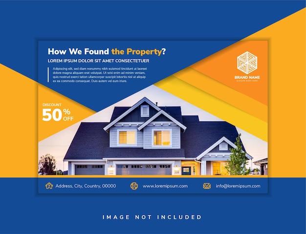 Modelo de design de folheto abstrato para programa de propriedade com fundo azul e gradiente laranja do elemento cenário elegante de vetor para promoção com espaço para foto espaço em casa para colagem de fotos