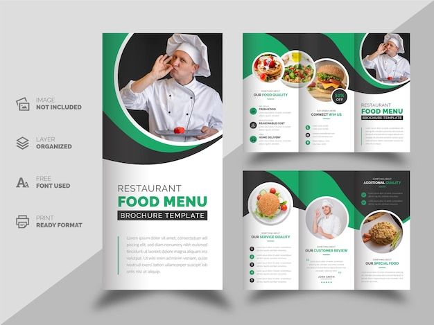 Modelo de design de folheto com três dobras de menu de comida de restaurante