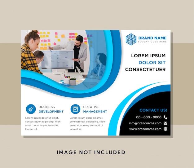 Modelo de design de folheto comercial usar layout horizontal. projetos de elementos de curva com cores azuis e pretas.