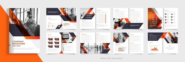 Modelo de design de folheto corporativo com vetor premium de forma abstrata laranja