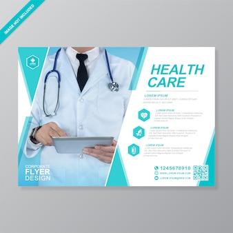 Modelo de design de folheto corporativo de cuidados de saúde e médicos a4