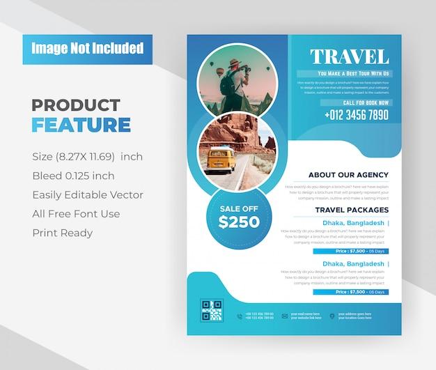 Modelo de design de folheto de agência de viagens e viagens de férias