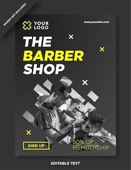 Modelo de design de folheto de barbearia