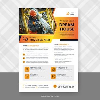 Modelo de design de folheto de construção e renovação