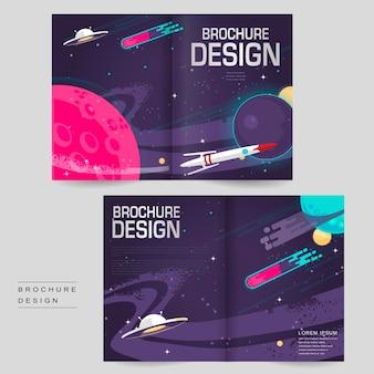 Modelo de design de folheto de desenho animado com duas dobras e cenário do espaço sideral