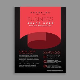 Modelo de design de folheto de estilo de página com curvas vermelhas mínimas
